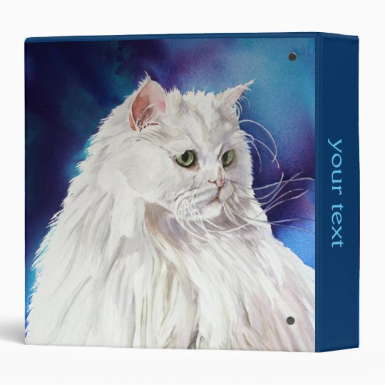 Personalized Name White Persian Cat 3 Ring Binder