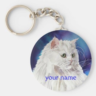 Personalized Name White Persian Cat Keychain
