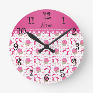 Personalized name white pink penguins cupcakes round clock