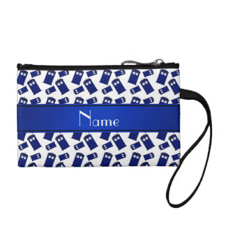 Personalized name white police box coin purses
