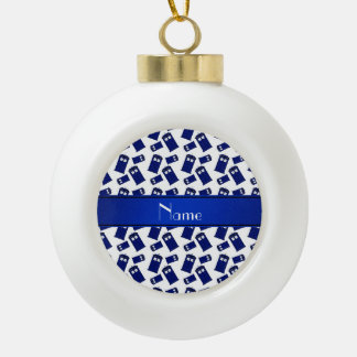 Personalized name white police box ornaments