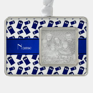 Personalized name white police box silver plated framed ornament