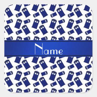 Personalized name white police box square stickers
