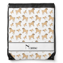 Personalized name white Pug dogs Drawstring Bag