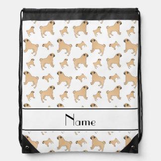 Personalized name white Pug dogs Drawstring Bag