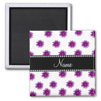 Personalized name white purple pink flowers magnets