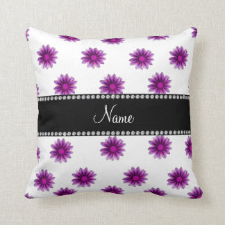 Personalized name white purple pink flowers throw pillow