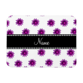 Personalized name white purple pink flowers rectangle magnet