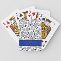 Personalized name white racquetball pattern playing cards