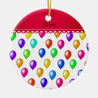 Personalized name white rainbow birthday balloons ceramic ornament