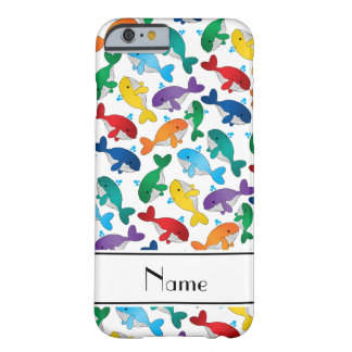 Personalized name white rainbow blue whales barely there iPhone 6 case