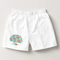 Personalized name white rainbow blue whales boxers
