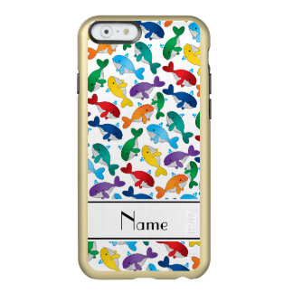 Personalized name white rainbow blue whales incipio feather shine iPhone 6 case