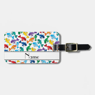 Personalized name white rainbow blue whales luggage tag