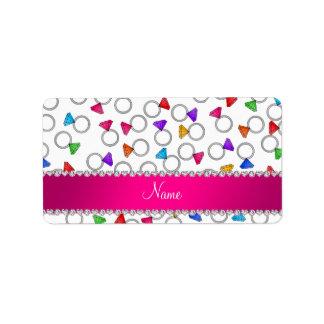Personalized name white rainbow diamond ring address label