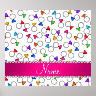 Personalized name white rainbow diamond rings poster