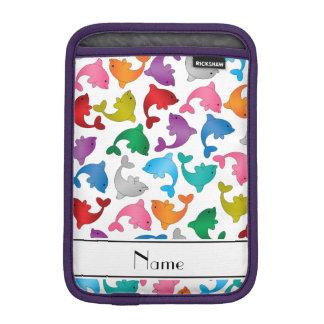 Personalized name white rainbow dolphins iPad mini sleeve
