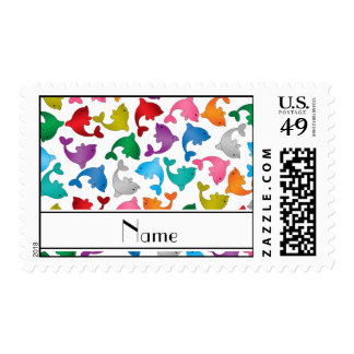 Personalized name white rainbow dolphins postage