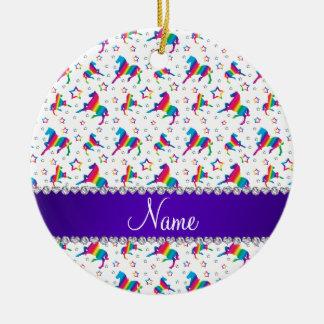 Personalized name white rainbow horses stars ceramic ornament