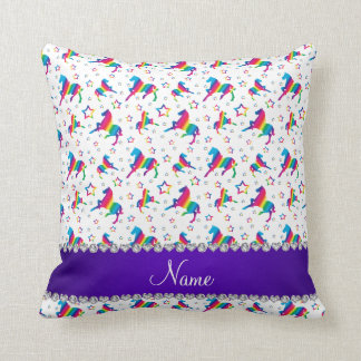 Personalized name white rainbow horses stars throw pillow