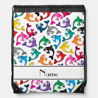 Personalized name white rainbow killer whales drawstring backpack