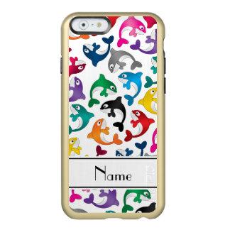 Personalized name white rainbow killer whales incipio feather shine iPhone 6 case