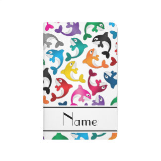 Personalized name white rainbow killer whales journal