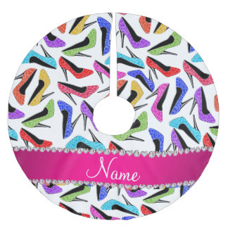 Personalized name white rainbow leopard high heels brushed polyester tree skirt
