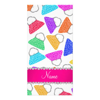 Personalized name white rainbow leopard purses photo card