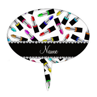 Personalized name white rainbow lipstick cake topper