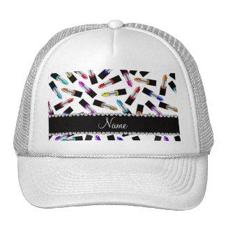 Personalized name white rainbow lipstick trucker hat