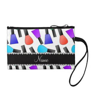 Personalized name white rainbow nail polish change purses