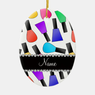 Personalized name white rainbow nail polish Double-Sided oval ceramic christmas ornament
