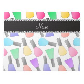 Personalized name white rainbow nail polish notepad