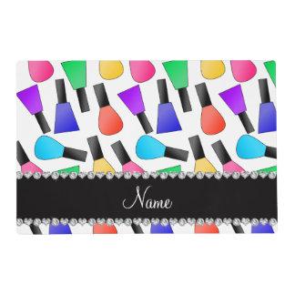 Personalized name white rainbow nail polish placemat