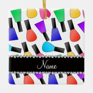 Personalized name white rainbow nail polish square ornament