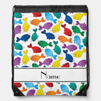 Personalized name white rainbow narwhals drawstring bag