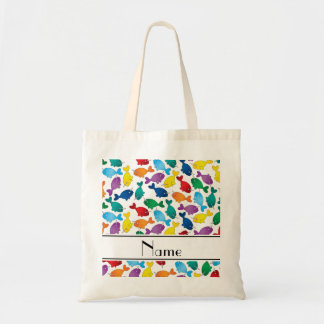 Personalized name white rainbow narwhals tote bag