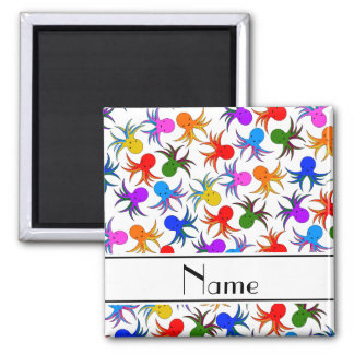 Personalized name white rainbow octopus 2 inch square magnet