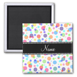 Personalized name white rainbow polka dots magnet