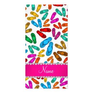 Personalized name white rainbow sandals customized photo card