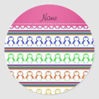 Personalized name white rainbow stripes penguins classic round sticker