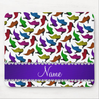 Personalized name white rainbow vintage shoes mouse pad