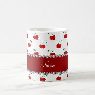 Personalized name white red cherries red stripe coffee mug