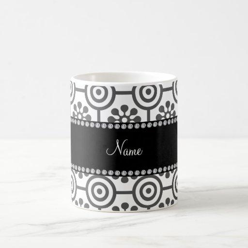 Personalized name white retro flowers coffee mug