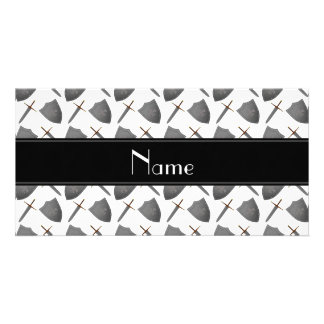 Personalized name white shields and swords photo card