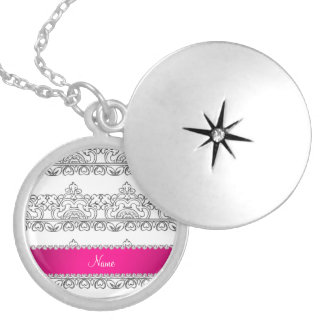 Personalized name white silver lace round locket necklace