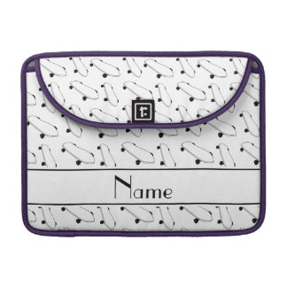 Personalized name white skateboard pattern MacBook pro sleeves