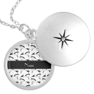 Personalized name white skydiving pattern round locket necklace