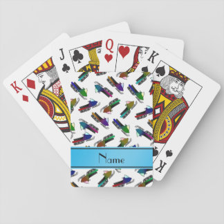 Personalized name white snowmobiles playing cards